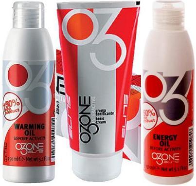 Productos para lesiones: Aceites y cremas para masajes Ozone Elite.