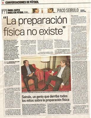 Opiniones generales de Paco Seirulo, sobre la preparación física aplicada al fútbol.